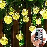 [Remote & Timer] batteriebetriebene 30 LED warme weiße Kristallkugel-Schnur-Licht im Freien, 8 Modi, dimmbare, wasserdichte Kugel Lichterketten für Terrasse, Garten, Hochzeit, Party, Schlafzimmer