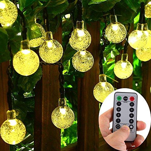 teriebetriebene 30 LED warme weiße Kristallkugel-Schnur-Licht im Freien, 8 Modi, dimmbare, wasserdichte Kugel Lichterketten für Terrasse, Garten, Hochzeit, Party, Schlafzimmer ()