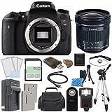 Canon EOS Rebel T6s DSLR Kamera (nur Korpus) + Canon EF-S 10–18mm f/4.5–5.6IS STM Objektiv + extra Akku + Ladegerät + 128GB + Fernbedienung + Kartenleser + Stativ + HDMI-Kabel + Tragetasche + Flash Bundle 61