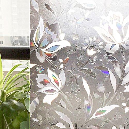 CottonColors Pellicola Privacy Per Finestre e Vetri-3D Fiori Decorative,Autoadesive,Anti-UV,Controllo di Calore,3Ft x 6.5Ft (90cm x 200cm) - No Aria Condizionata