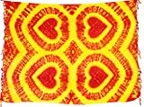 Kascha Sarong Pareo Wickelrock Strandtuch Tuch Wickeltuch Handtuch - Blickdicht - ca. 170cm x 110cm - Orange Gelb Batik mit Herz Motiv Tie Dye Handgefertigt inkl. Kokos Schnalle in Fischform