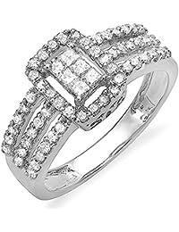 0.75 Carat (ctw) 14 ct White Gold Round & Princess Diamond Ladies Engagement Bridal Ring 3/4 CT