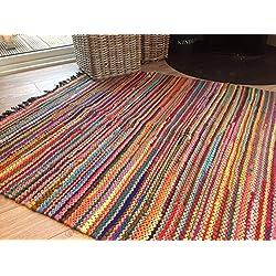 Comercio justo trenzado alfombra 90cm x 150cm algodón yute multicolor alfombra Chindi con costuras negro