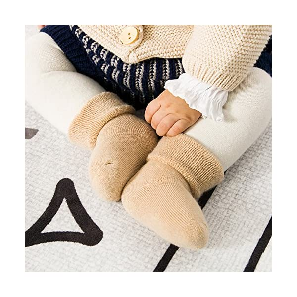 DEBAIJIA 3 Pares de Calcetines Bebé Algodón organico Grueso Calcetines Térmicos Largo Recién Nacidos 0-36 Meses Invierno… 2