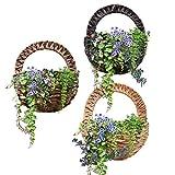 Sue forniture puntelli simulato muro Hangle cesto di fiori, fiori artificiali vaso da parete in bambù intrecciato basket Flower Decor indoor outdoor irrigazione da appendere Nero