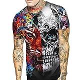 Paar Herren und Damen T Shirt Skull Head Digital 3D Druckt Rundhals Kurzarm T-Shirt Pullover Cool T-Shirt Sommer Top Bluse (XL, Herren Multicolour)