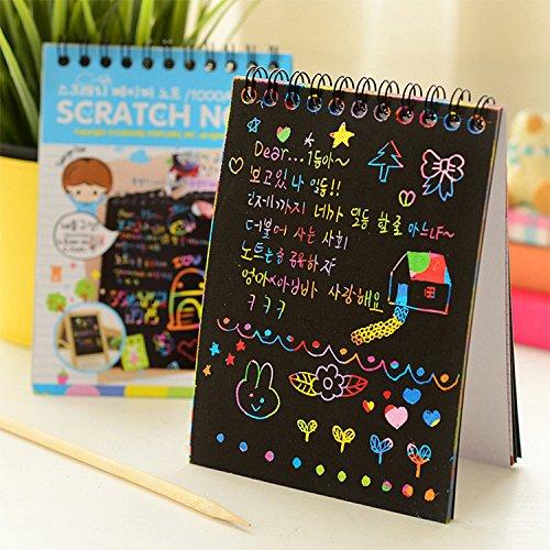 er Note mit Holz Bleistift, Scratch Art Rainbow für Kinder Kinder Mädchen, macht Kunst Spaß (Rainbow Scratch Paper)