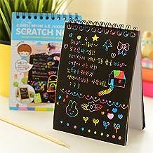 Tiptiper Nota de papel rayado con lápiz de madera, arcoiris de arte de arañazo para niños niñas de niños, hace arte divertido