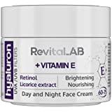 RevitaLAB - Crema antiarrugas de día y de noche enriquecida con vitamina A (retinol), vitamina E, extracto de raíz de regaliz