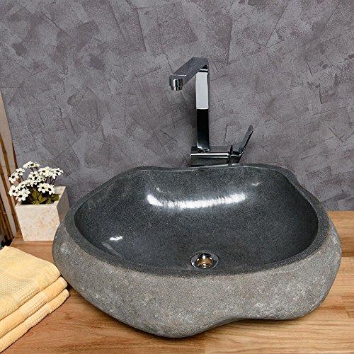 Preisvergleich Produktbild Wohnfreuden Naturstein Flussstein Aufsatz-Waschbecken 60 cm groß Waschtisch Waschschale Handwaschbecken Steinbecken Findling Granit
