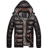 KJHSDNN Men's Hooded Down Coat Warm Windproof Puffer Parka Waterproof Cotton Quilted Jacket Outerwear