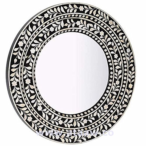 Madreperla specchio rotondo telaio nero Handmade Antique Home Decor (Intagliato A Mano Madreperla)