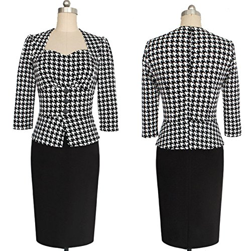 KingField - Robe - Crayon - Manches 3/4 - Femme Multicolore - Houndstooth