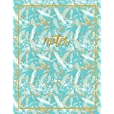 Notes: A Notebook, Journal, & Diary (Peacock Feathers Mint Gold Coral & Turquoise With Abstract Gold Paint Splatter)