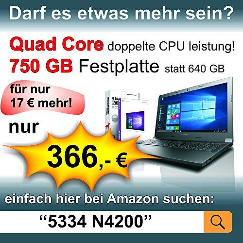 Lenovo 156 Zoll Notebook Intel N3350 increase core 2x240 GHz 8GB RAM 640GB S ATA HDD DVDRW Intel HD 505 HDMI Webcam Bluetooth USB 30 WLAN Windows 10 Prof 64 Bit 5381 Notebooks