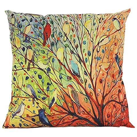 Esailq Multicolor Arbre et fleur Motif oiseau Coton Canapé Taie d'oreiller Housse de coussin 40cm *40cm, multicolore, 40cm *40cm