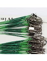 La Pêche, Bobogo 100pcs Pêche Leurres Trace Fonde en fil d'acier Spinner 16/18/22/24/28cm Vert