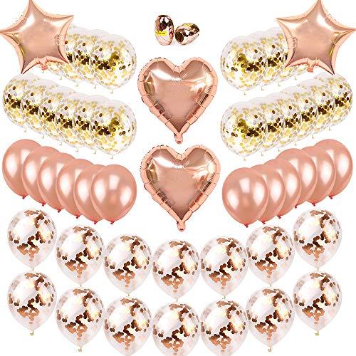 SPECOOL Globos de Confeti de Oro Rosa Globo de Fiesta Globos de látex Globos de lámina con Cuerdas de Rollos para Cumpleaños Boda Baby Shower graduación (Rose Gold)