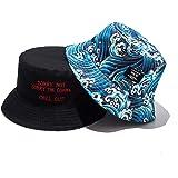 Lanly - Cappello da pescatore, unisex, indossabile in entrambi i versi, in 100% cotone, pieghevole, stile moderno, ideale per