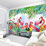 Wphwm Tapisserie Photo 3D Papier Peint Mural vintage Feuilles De Bananier Tropical Nordique Jungle Mur Flamant Rose Grande Papier Peint Vert 140x100cm