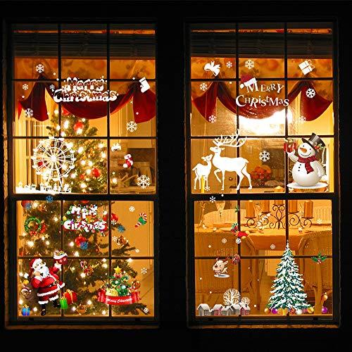 htsfenster Aufkleber Traceless statische Wandaufkleber DIY Weihnachtsfenster Dekorationen Weihnachtsmann Schaufenster klammert Schneemann Fenster Aufkleber ()