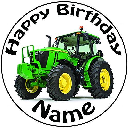 Personalisierter Grüner Traktor Zuckerguss Kuchen Topper / Kuchendekoration - 20 cm Großer Kreis - Jeder Name Und Jedes (Ideen Cup Für Kuchen Halloween)