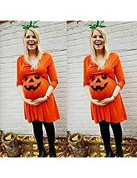 OHQ Vestido Mujer Embarazada Embarazo De EnfermeríA Embarazo Halloween Diablo Imprimir Negro Blanco Gris Azul Rojo