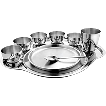 Shri & Sam Nifty Stainless Steel Thali, 9-Pieces, Silver