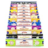 Satya Nag Champa Om Shanti incense set W 12x15gram incense includes: Nag Champa, Super Hit, Om Shanti, Black Champa, Eastern Tantra, Spiritual Aura, Nirvana, Mystic Yoga, Seven Chakra, Sacred Ritual, Californian Sage, Myrrh