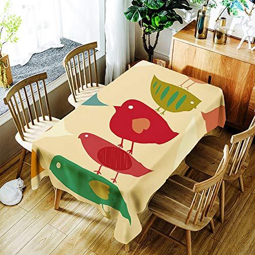 TWTIQ 3D Planta Verde Patrón De Hoja De Plátano Mantel Pájaro De Dibujos Animados Impresión Digital Poliéster Impermeable Tabla Mantel Cubierta C Diámetro Redondo 150 Cm