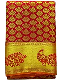 Ethnic Indian Women's Pattu Silk Saree With Zari Border And Blouse (Latest Collection, New Design) (Red)