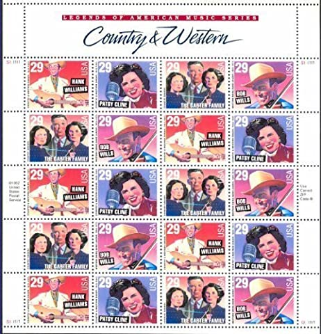 Country Music Legends Collectible Stamp Sheet of 20 29 Cent
