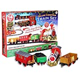 Deluxe 14pc Christmas Train Set Festive Express Easy Click Track Battery Powered Locomotive With Realistic Sounds And Lights Xmas Tree Decoration