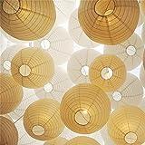 Letech weiße Papier Laterne Lampions mit Mini LED-Ballons Lichter rund Lampenschirm Hochtzeit Dekoration Papierlaterne - (12er Packung) (Weiß Lampion mit warmweiß Mini LED-Ballons Lichter)