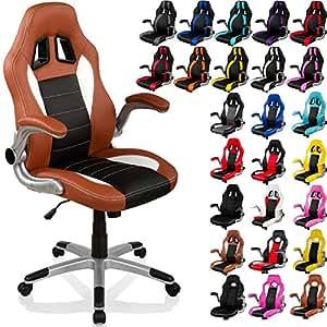 """RACEMASTER® Chaise de bureau """"GT Series"""" Fauteuil de bureau Chaise Gamer, Siège Gaming accoudoirs pliants, base à cinq étoiles XL, vérin à gaz avec fonction basculante couleur brun/noir/blanc"""