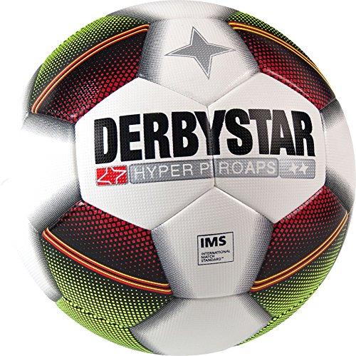 Derbystar Fußball Hyper Pro APS, Matchball, Ball Größe 5 (420 - 440 g), weiß rot schwarz gelb, 1004 (Fußball-bekleidung Pro)