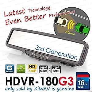 nouvel ABEO HDVR-180G3 VRAI FHD auto DVR rétroviseur enregistreur vidéo cam 16G SD card