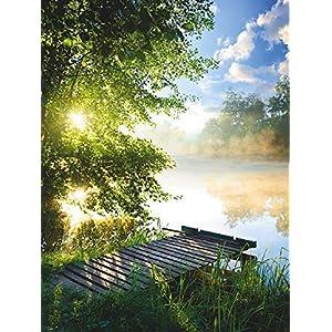 Artland Glasbilder Wandbild Glas Bild einteilig 45×60 cm Hochformat Landschaft Natur Wald Baum Gewässer Grün Angelsteg Fluss Frühling T0WD