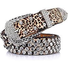 a4c26c7988a221 QincLing Damen Leoparddruck Strass Leder Gürtel Luxus Mode Taille Gürtel