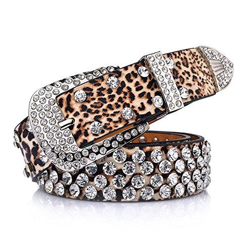 QincLing Damen Leoparddruck Strass Leder Gürtel Luxus Mode Taille Gürtel, Leopard, Gr. 108cm (Leopard-print-jeans)