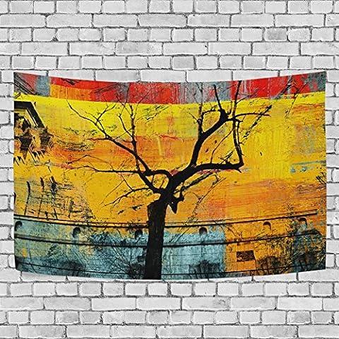 welllee Abstrakte Kunst Baum Wand Tapisserie Überwurf Fenster Deko Schlafzimmer Wohnzimmer Wohnheim Türöffnung Aufhängen Vorhang, 152,4x 101,6cm, Textil, multi, 90x60(in)