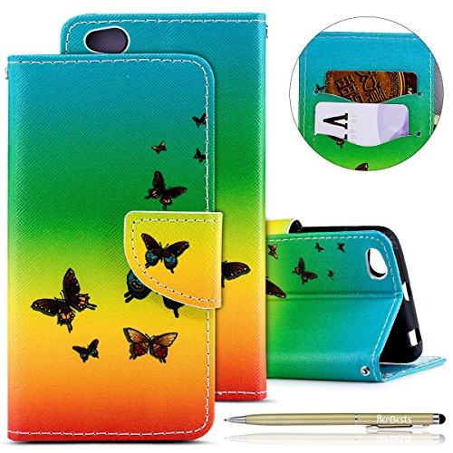 Herbests Hülle für Xiaomi Redmi 4A Handytasche Bunt Handyhülle Flip Case Cover Tasche Schutzhülle Retro Schön Leder Hülle Ledertasche Brieftasche im Bookstyle Lederhülle,Schmetterling
