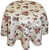 Hossner Tischdecke Weihnachten Rund GOBELIN Beige Glöckchen Weihnachtsdecke Tafeltuch Tischtuch Decke (160 cm)