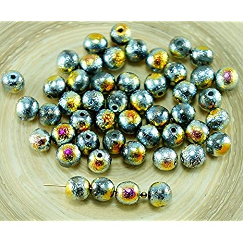 20pcs Argento Arcobaleno Rustico, Acidato, Vetro ceco Perle 6mm