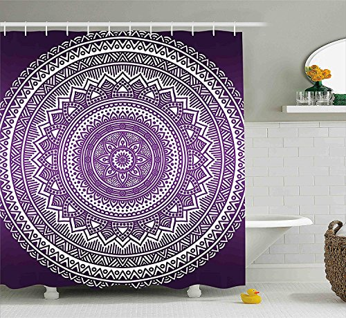 tgyew Purple Shower Curtain, Ombre Mandala Art Print Vibrant Floral Pattern Boho Hippie Inspired Design, Fabric Bathroom Decor Set with Hooks, 60W X 72L Inche, Purple and White