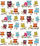 Unbekannt 30 TLG. Set: Sticker / Aufkleber -  Bunte Eulen  - mit Glitzer - selbstklebend - Eule auf AST - Stickerset Kinder - z.B. für Stickeralbum / Figuren - Mädche..