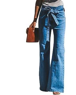 Guiran Jeans Femme Taille Haute Denim Jambe Évasé Pantalons Confortable  Casual 3c22229ddb9