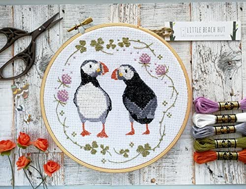 Puffins cross stitch kit embroidery pattern modern