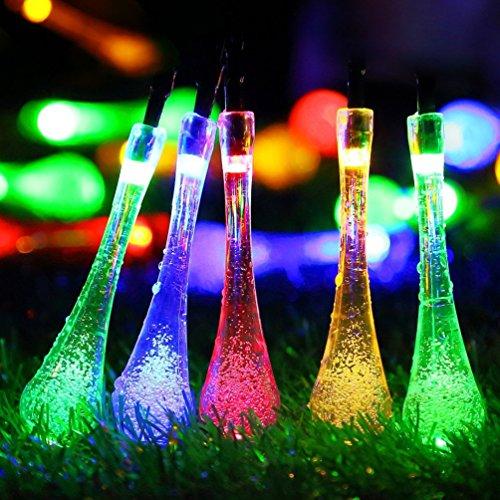 Tech 7M Guirlande Solaire d'extérieur, 20 LEDs en Forme de Goutte d'eau, Décoration pour Jardin Noël Mariage Partie Halloween (Multicolore)