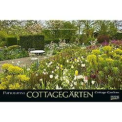 Cottagegärten 2019: Großer Foto-Wandkalender mit Bildern englischer Gärten. Edler schwarzer Hintergrund und Foliendeckblatt. PhotoArt Panorama Querformat: 58x39 cm.